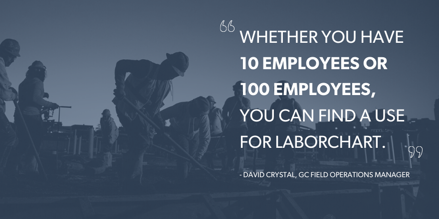 "An image of construction workers digging with the quote ""Whether you have 10 employeesor 100 employees, you can find a use for LaborChart."""