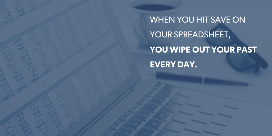 "a computer with text ""when you hit save on your spreadsheet you wipe out your past everyday"" overlying the image"