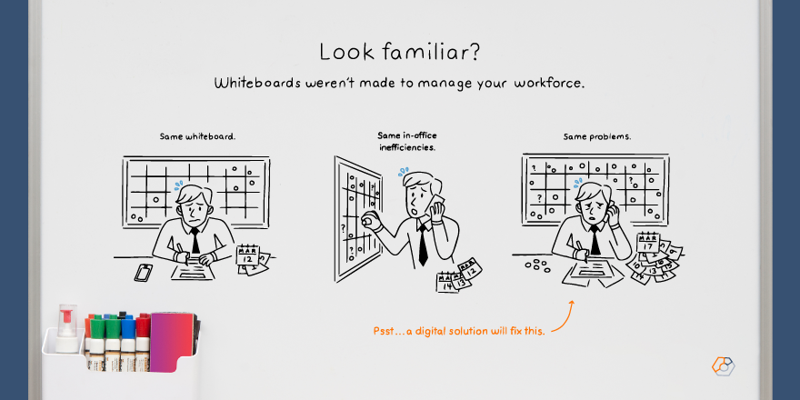 A graphic with a cartoon man using a whiteboard that says Look familiar? Whiteboards weren't made to manage your workforce.
