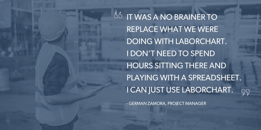 """An image with the text that says: """"It was a no brainer to replace what we were doing with LaborChart. I don't need to spend hours sitting there and playing with a spreadsheet. I can just use LaborChart."""""""