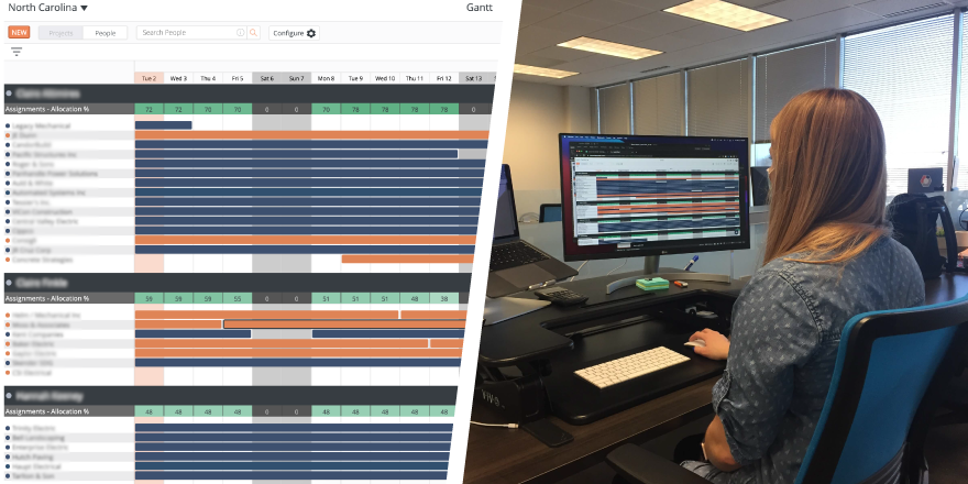 A screenshot of the LaborChart Gantt Page side by side an image of a LaborChart employee using the Gantt page.