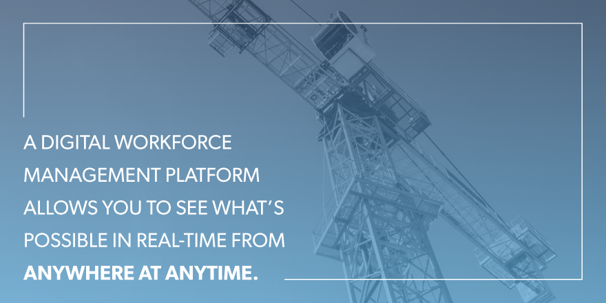 A digital workforce management platform allows you to see what's possible in real-time from anywhere at anytime.