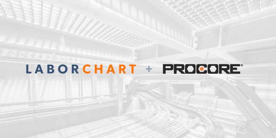 LaborChart, the leading workforce management platform. And Procore the construction project management platform integration graphic.