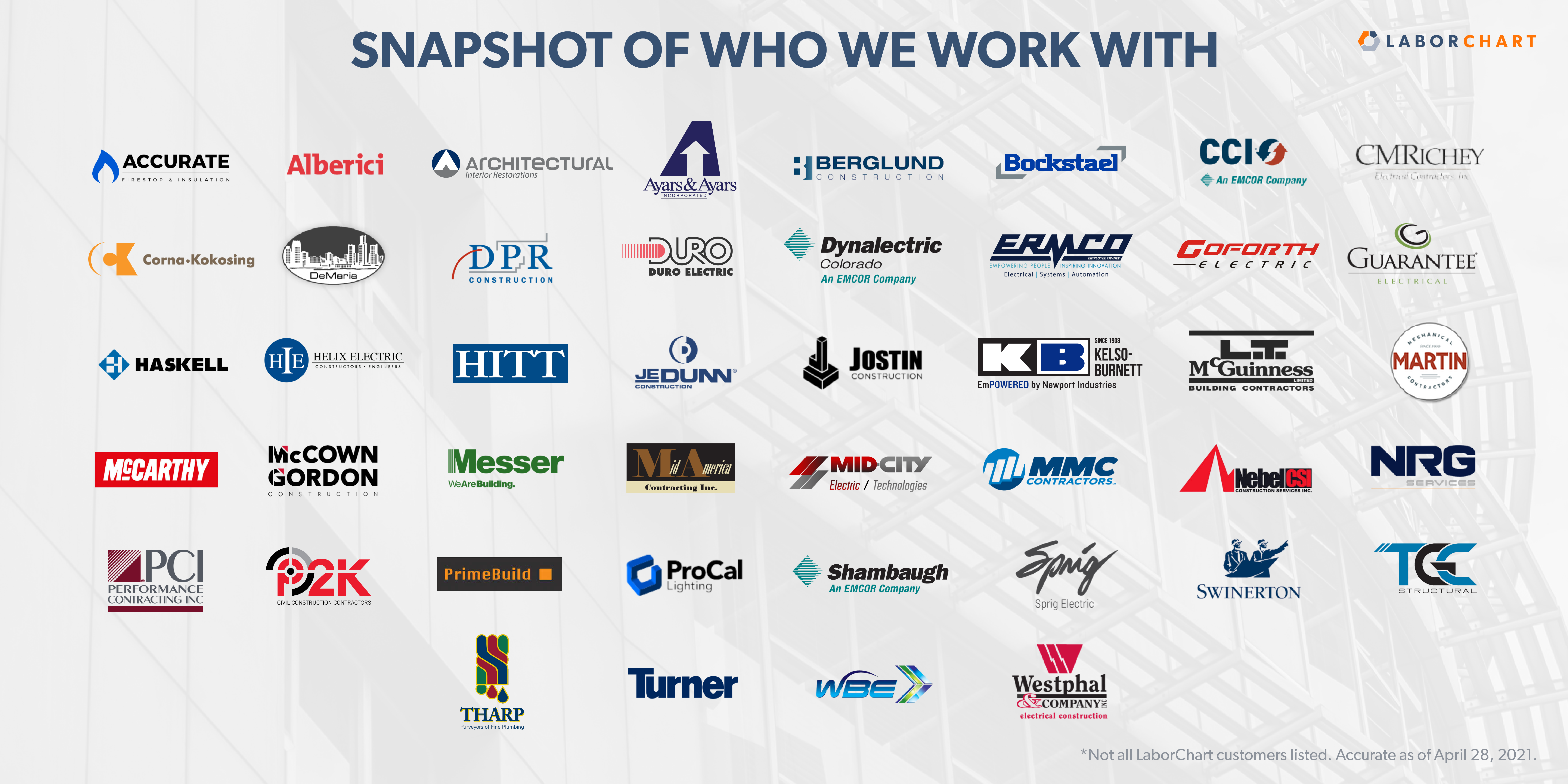 General and specialty contractor logos that are LaborChart customers.