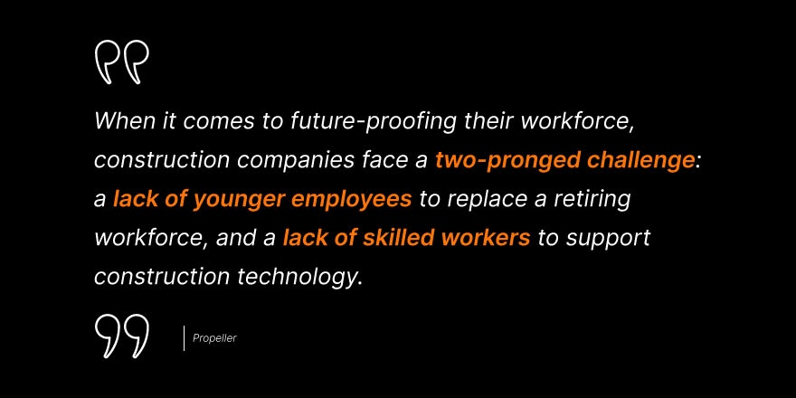 """Propeller says, """"When it comes to future proofing their workforce, construction companies face a two-pronged challenge: a lack of younger employees to replace a retiring workforce, and a lack of skilled workers to support construction technology."""""""