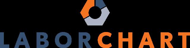 LaborChart's logo with orange, dark blue and grey nut design above it.