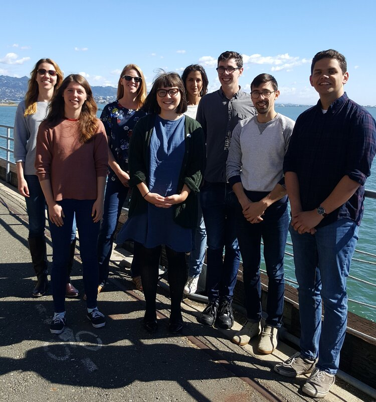 Polina Kosillo, Katie Benthall, Helen Bateup, Katie Cording, Villy Karalis, John Blair, Dan Kramer, Kamran Ahmed during a lab retreat.