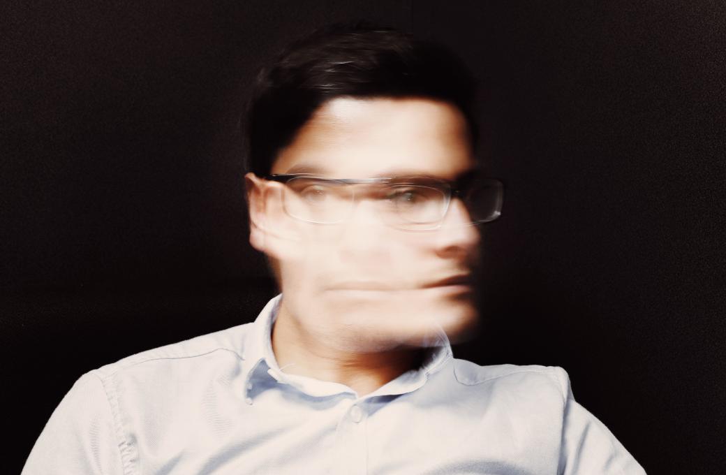 Blurry profile shot of a man