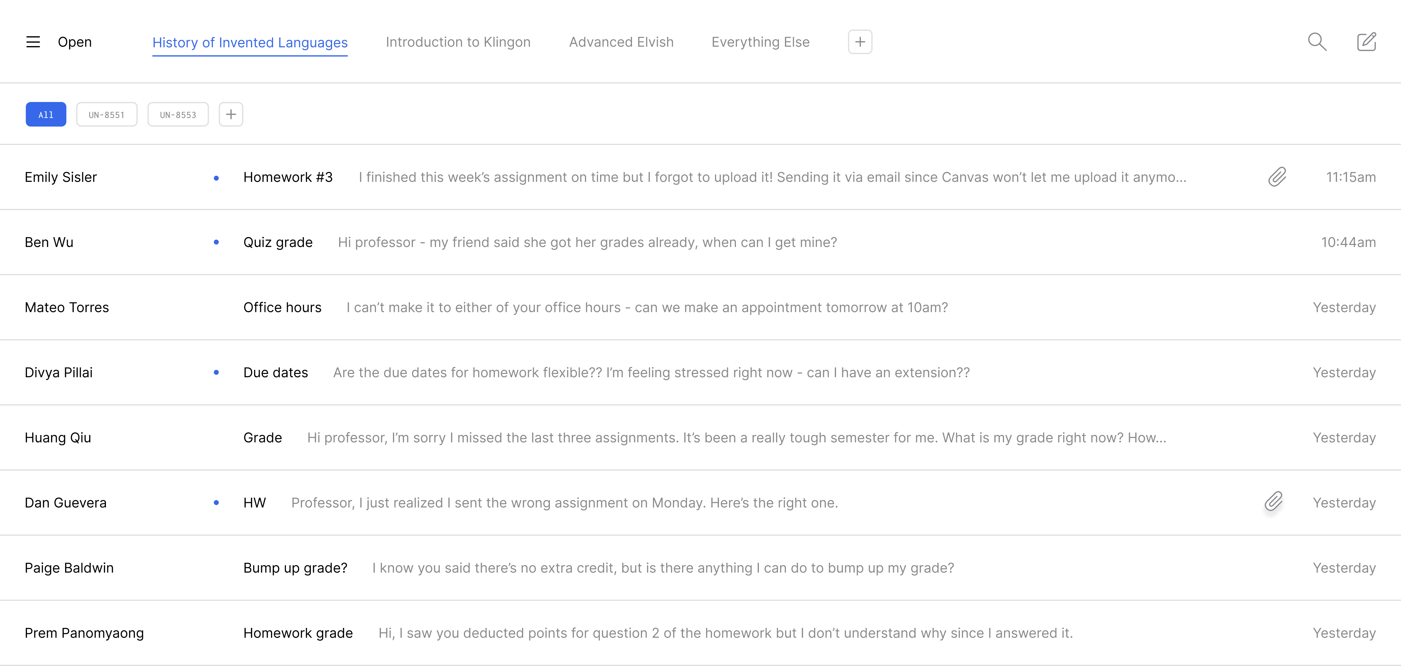 Inbox with split classrooms