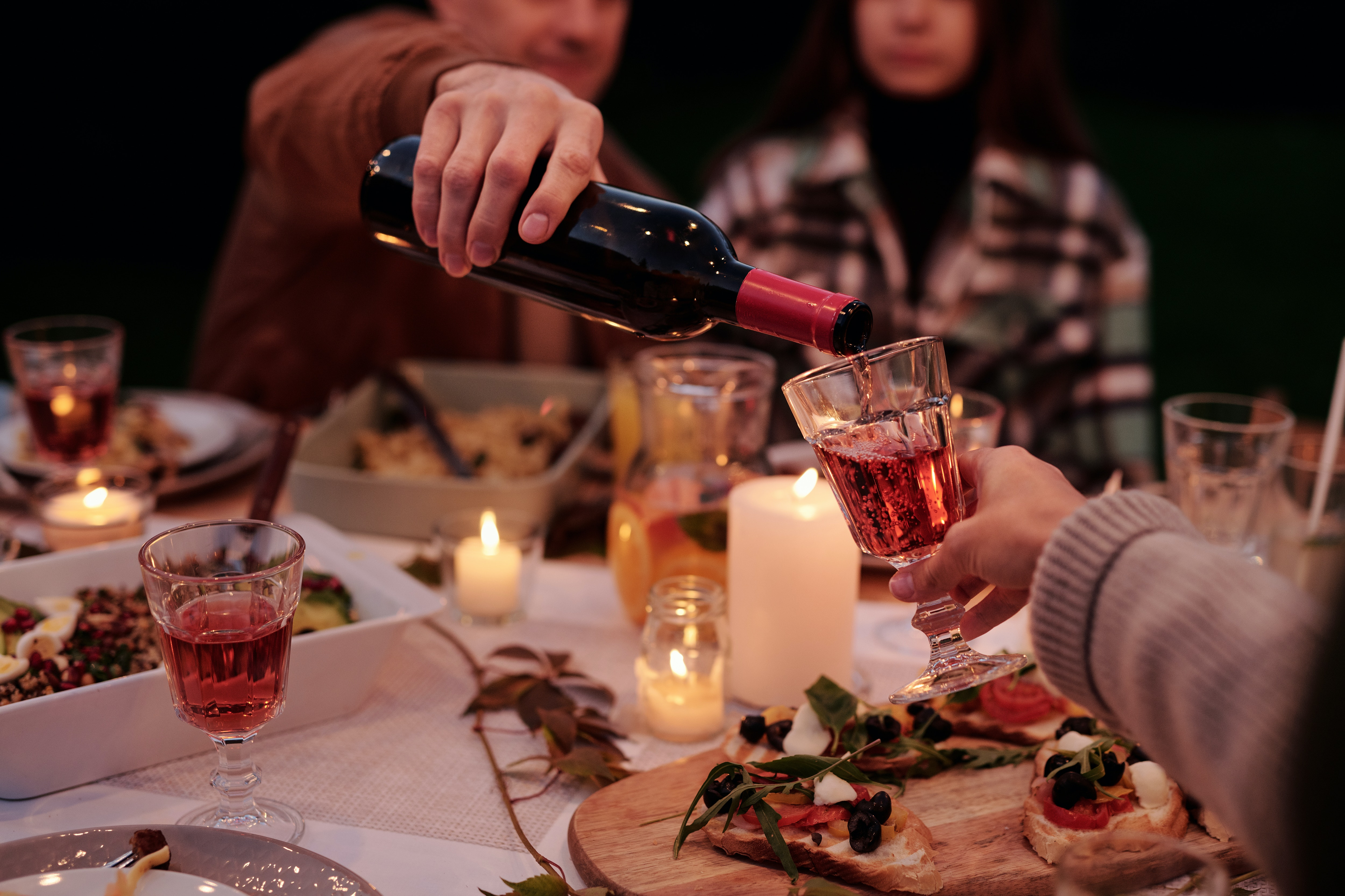 Dinner table  with a rose wine