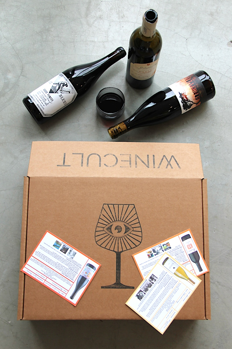 WINECULT subscription box with 3 bottles of wine.