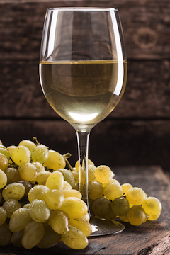 White Wine Glass with White Grapes