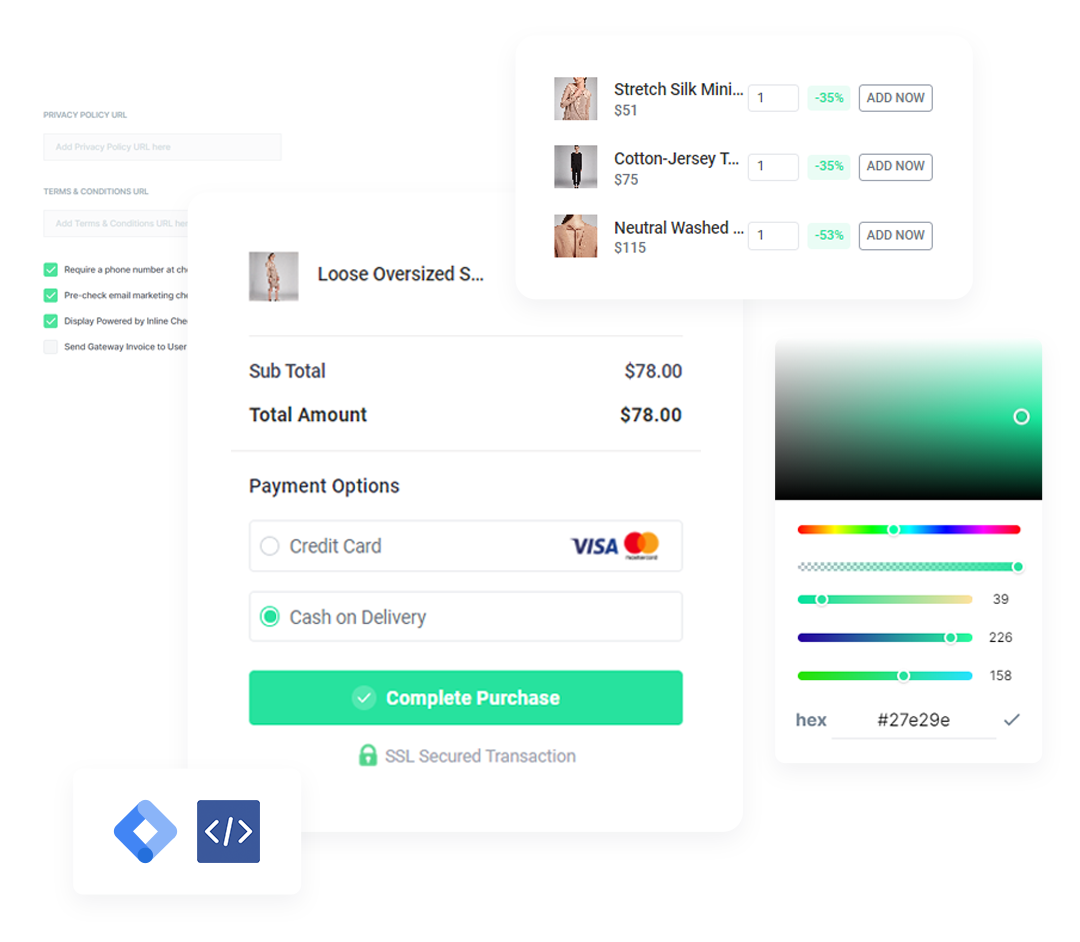 Fully customizable checkout settings enabling store owners to add branding elements to the checkout page