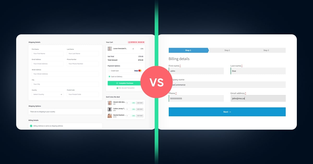 One-Page Checkout vs. Multi-step Checkout In-depth Comparison (WooCommerce Analysis)