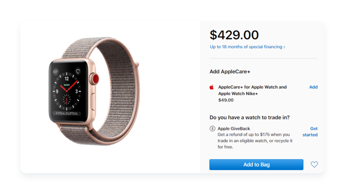 apple-watch-in-cart-apple-care-upsell-example