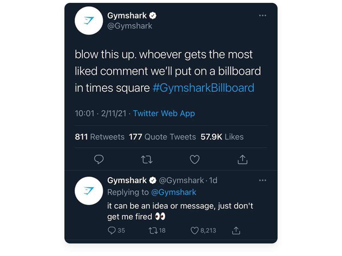Fastest growing ecommerce startups, Gymshark Twitter example