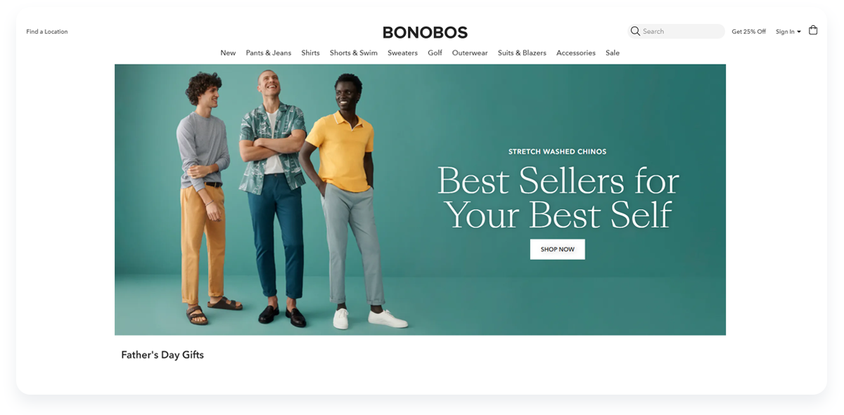 Most innovative ecommerce startups, Bonobos Main page