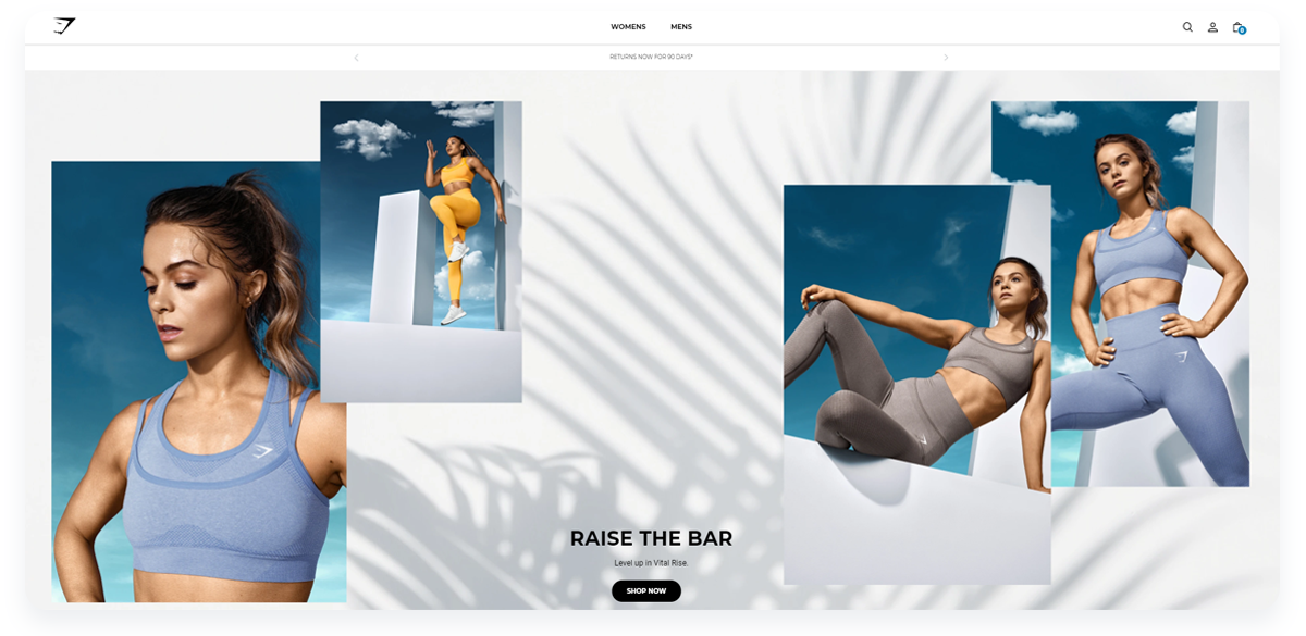 Fastest growing ecommerce startups, Gymshark Main Page