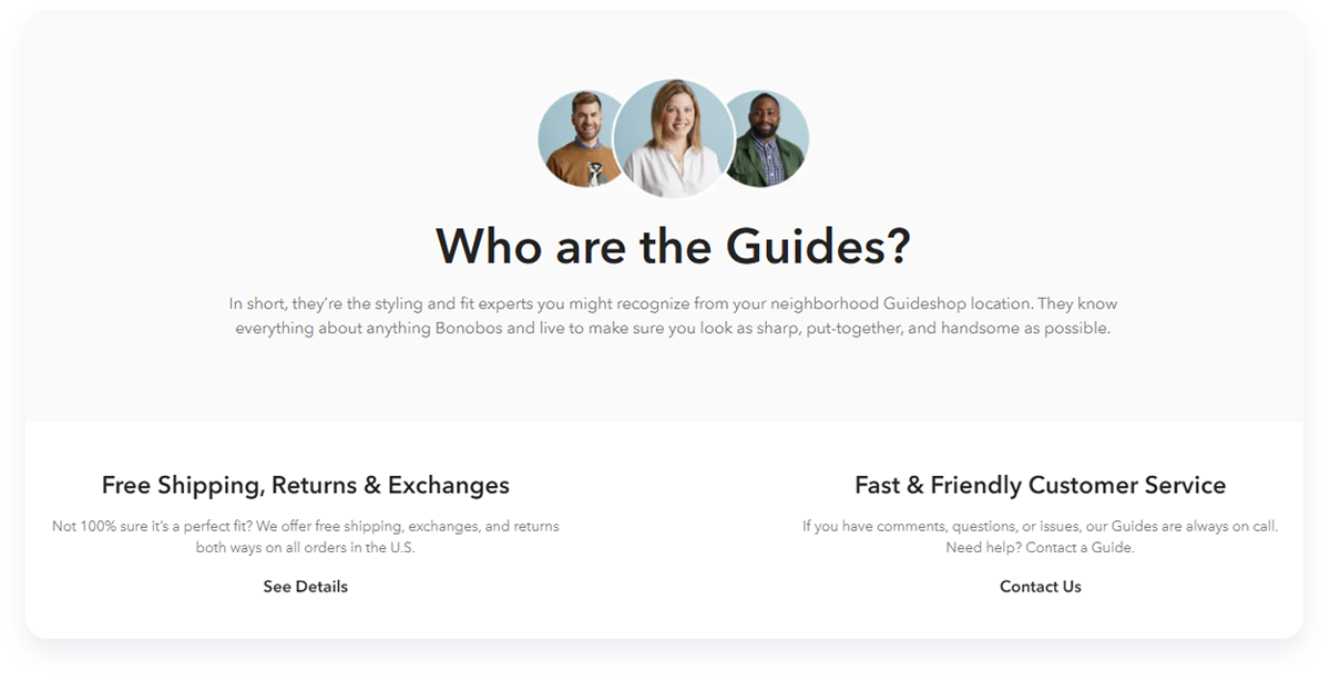 Most innovative ecommerce startups, Bonobos Main Customer Experience Guides