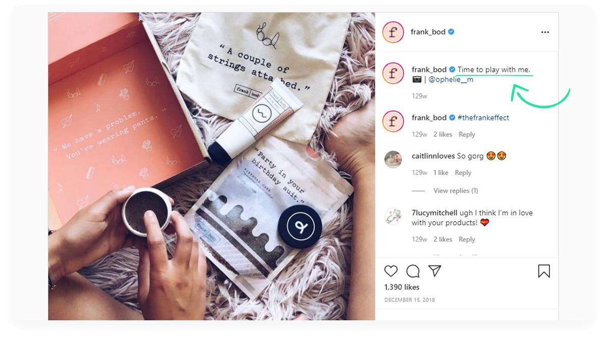 Top innovative ecommerce startups, Frank Body Instagram
