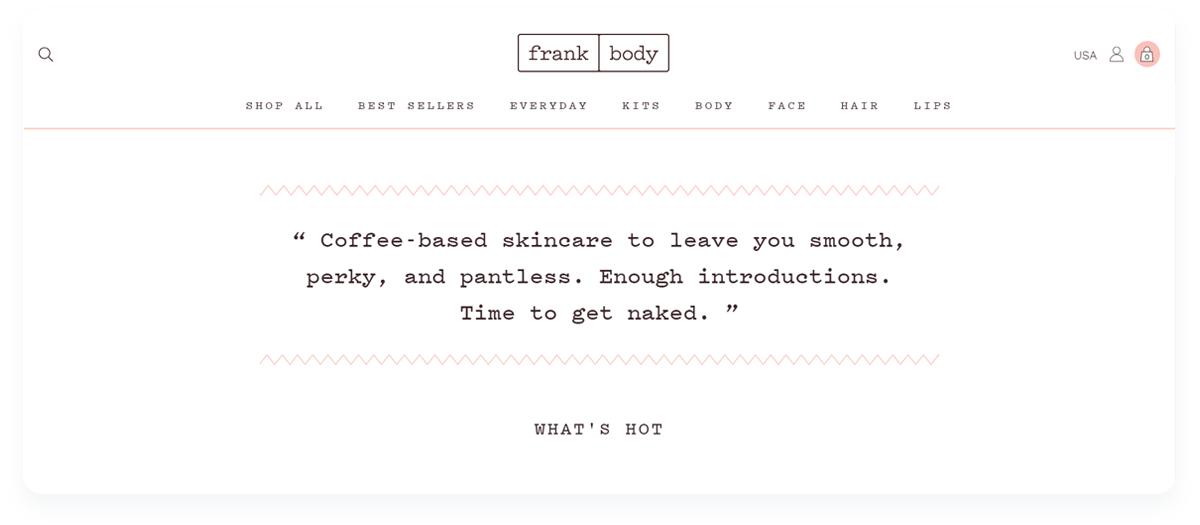 Top innovative ecommerce startups, Frank Body Copywriting website