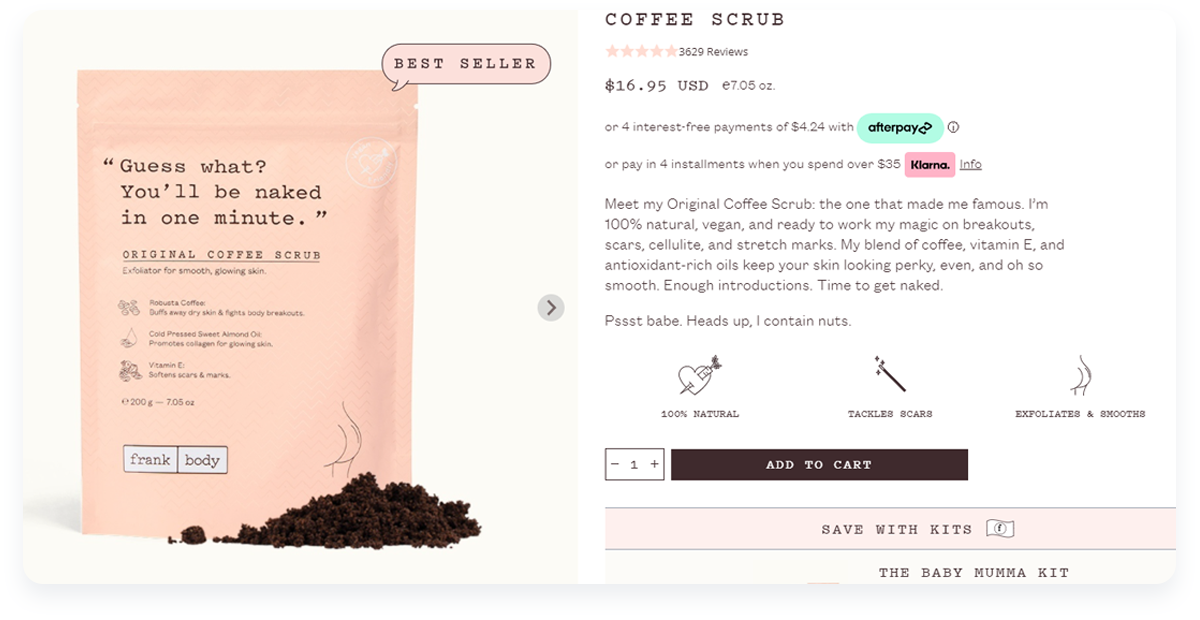 Top innovative ecommerce startups, Frank Body Product Example