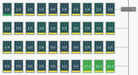 Pictured: the same array showing reclaimed energy for each module. Numbers greater than zero indicate the contribution from the TS4 optimizer.
