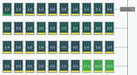 Sur la photo : le même tableau montrant l'énergie récupérée pour chaque module. Les nombres supérieurs à zéro indiquent la contribution de l'optimiseur TS4.
