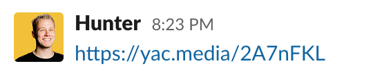 Yac voice messaging share link