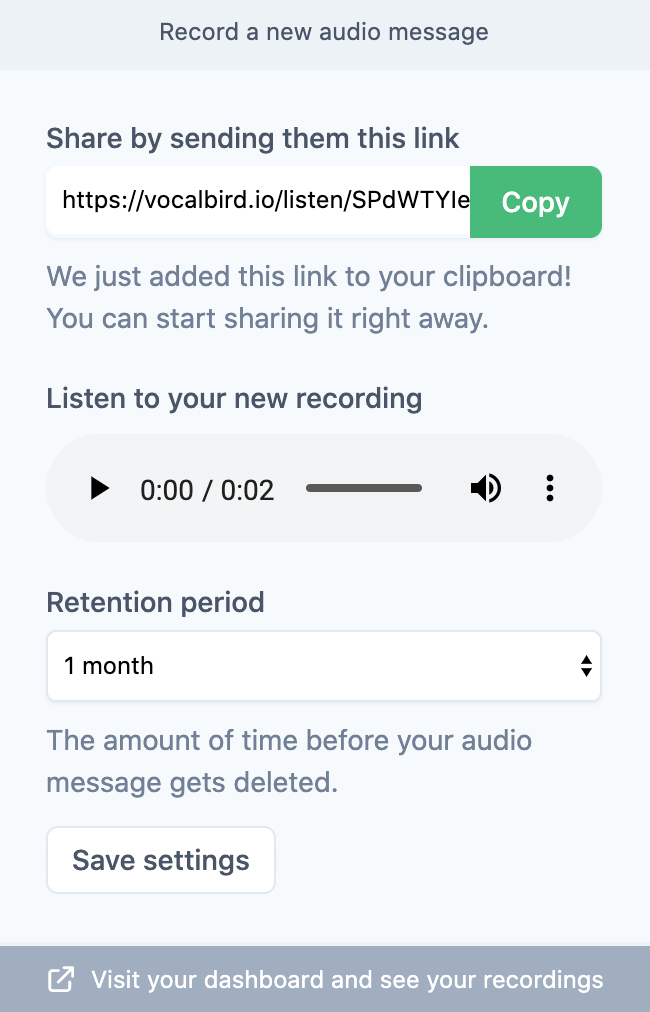 Vocal bird voice messaging chrome extension