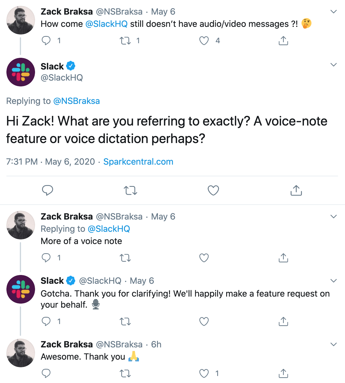 Tweet: How come @SlackHQ still doesn't have audio/video messages?!