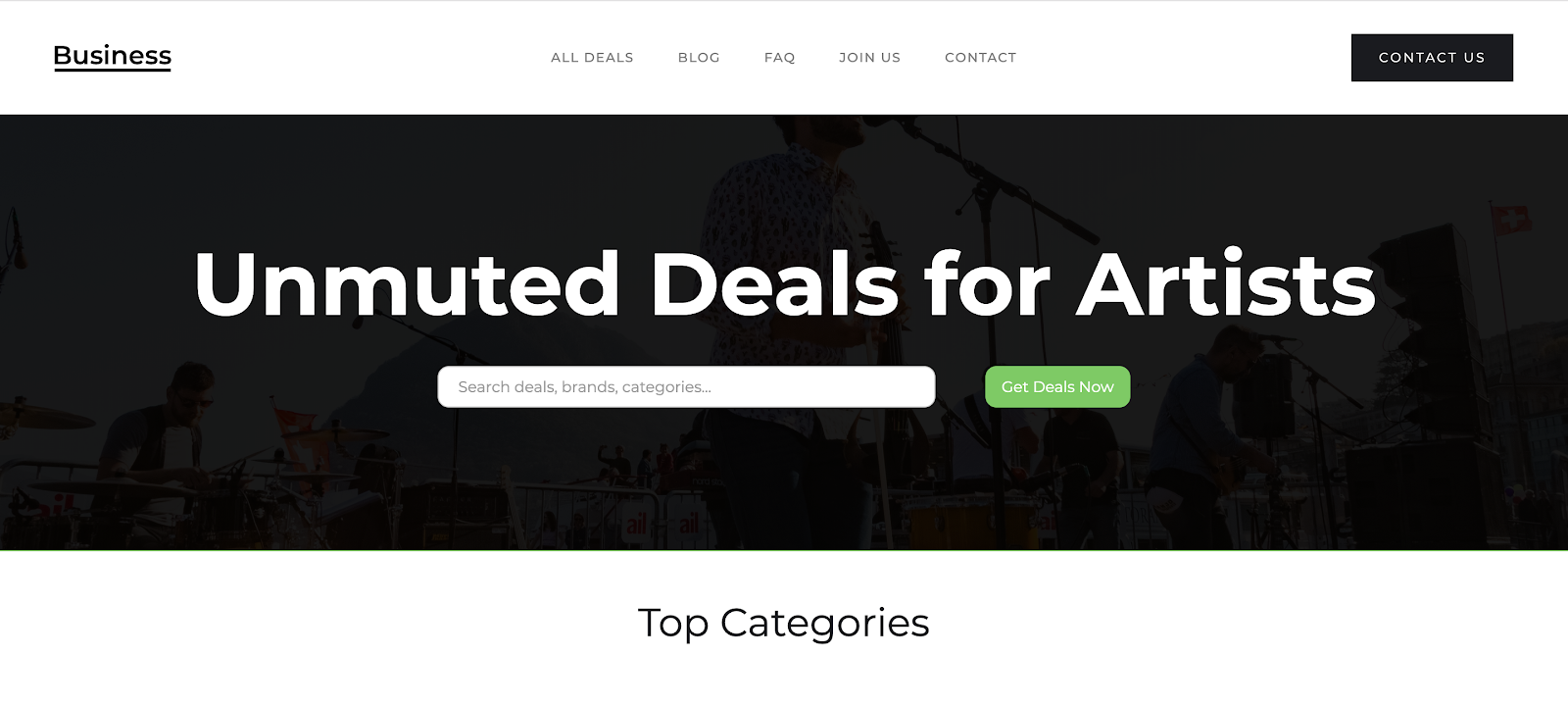 Unmuted Deals for Artists Concept
