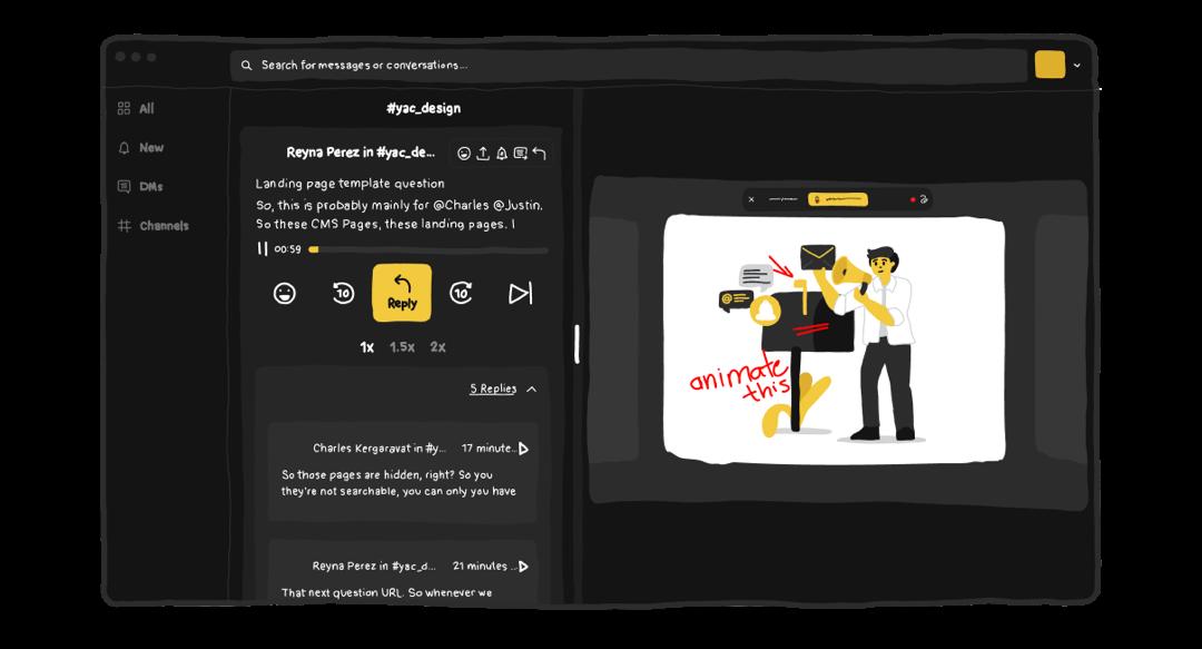 Yac screen sharing playback with threading