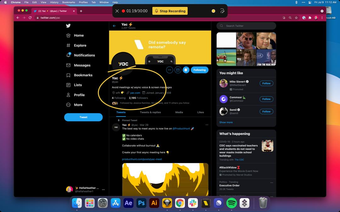 What screen recording on desktop looks like.