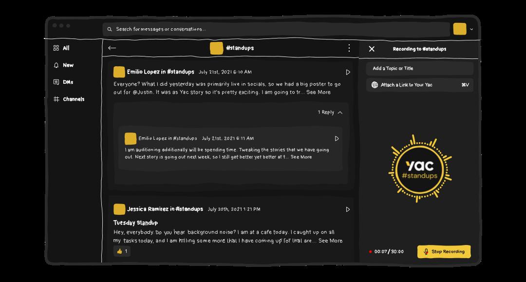 Screenshot showing what recording a yac looks like with Yac's desktop app.