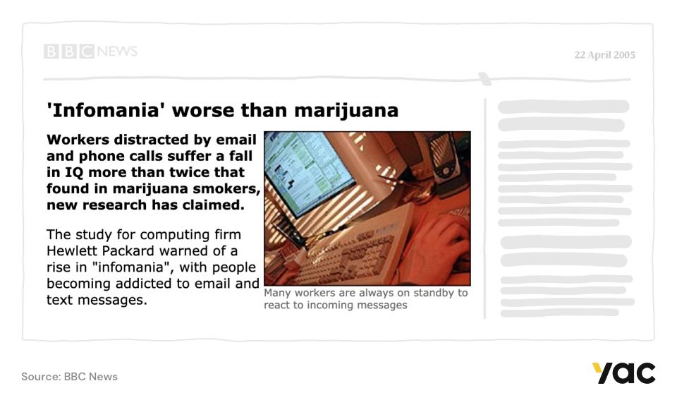 "News article with headline ""'Infomania' worse than marijuana."""