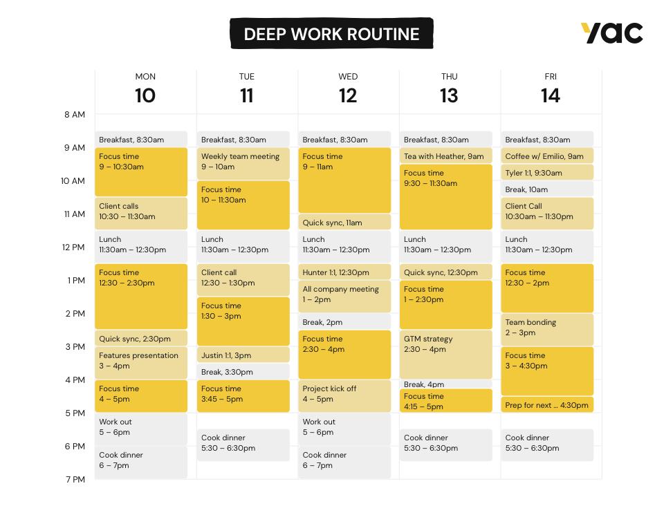 Calendar showing an example deep work routine.