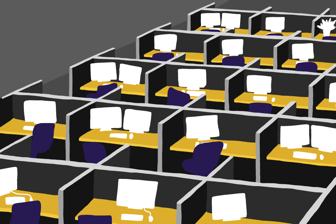 Illustrated endless cubicle farm.