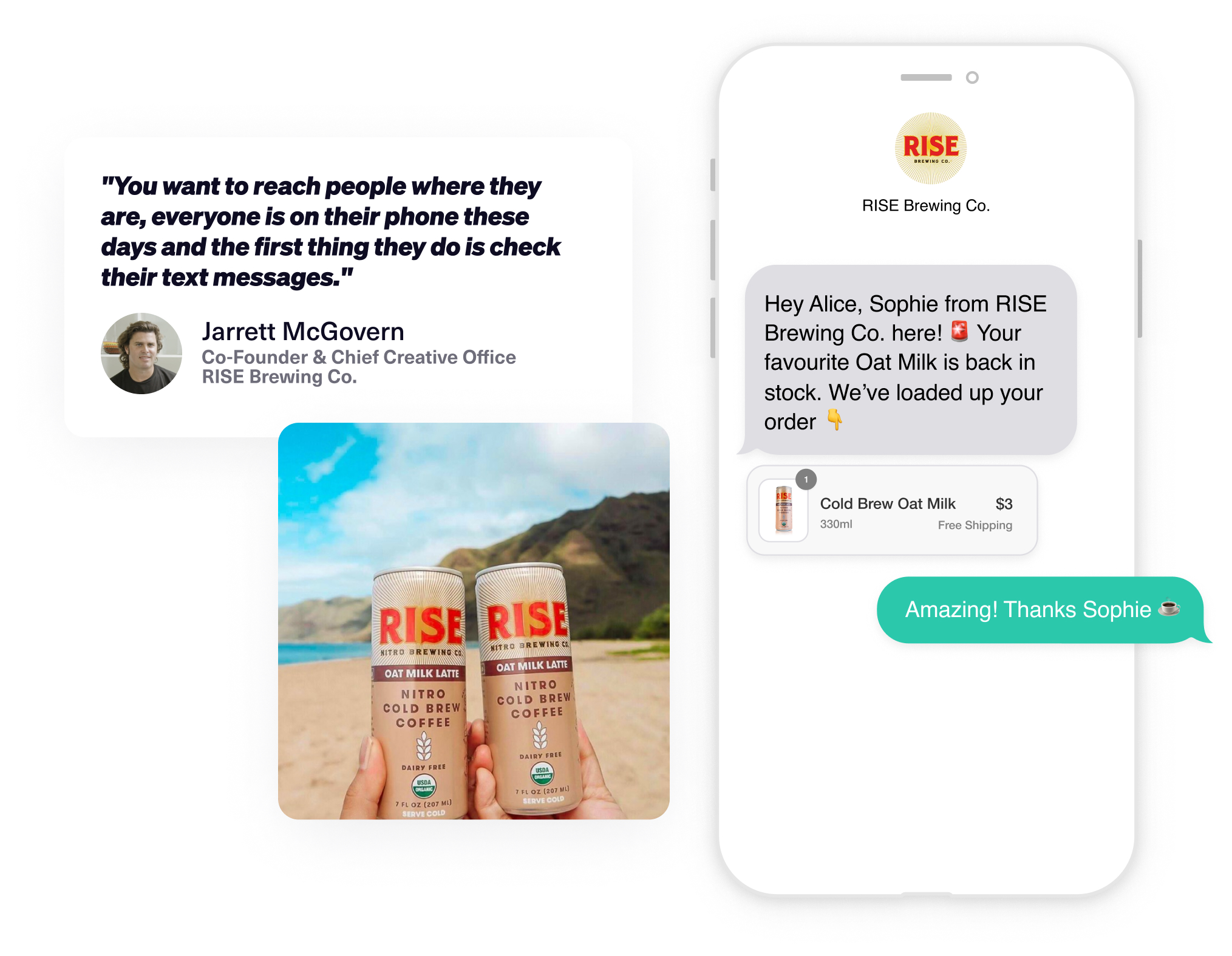 An SMS conversational chat between Rise Brewing Co and their customer Alice, who may click the recommended product and check-out in one tap.
