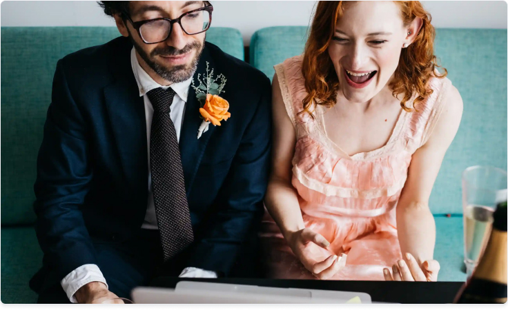 How a virtual wedding ceremony took place on Hopin