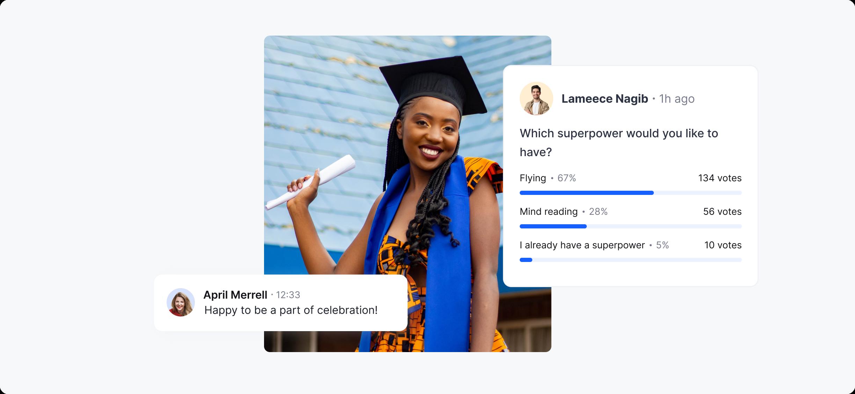 poll at virtual graduation ceremony on hopin