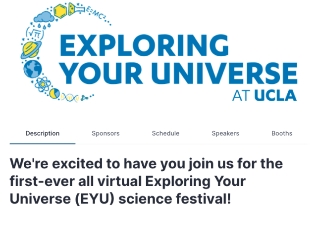 Exploring Your Universe UCLA Hopin Virtual Event Landing Page