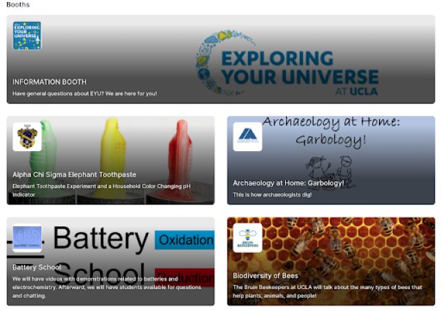 Hopin Virtual Expo booths UCLA Exploring Your Universe
