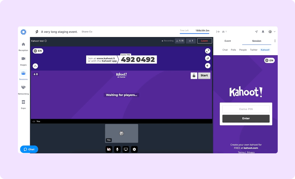 """Use """"Kahoot! games to engage your audience throughout your event."""