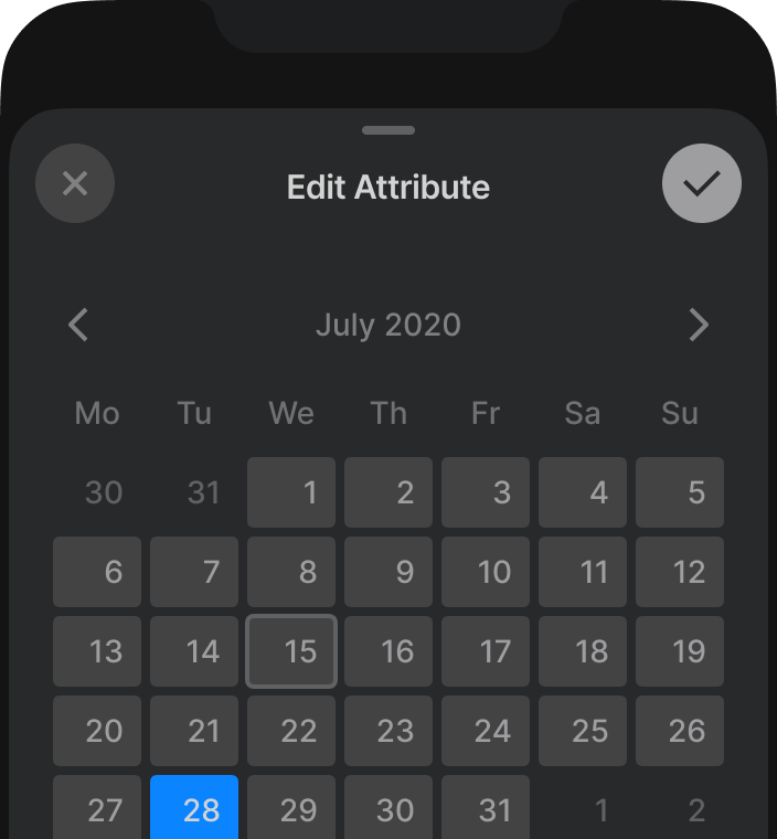 Setting a date in Attio's mobile app