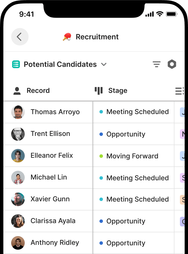 Tracking recruitment candidates with Attio