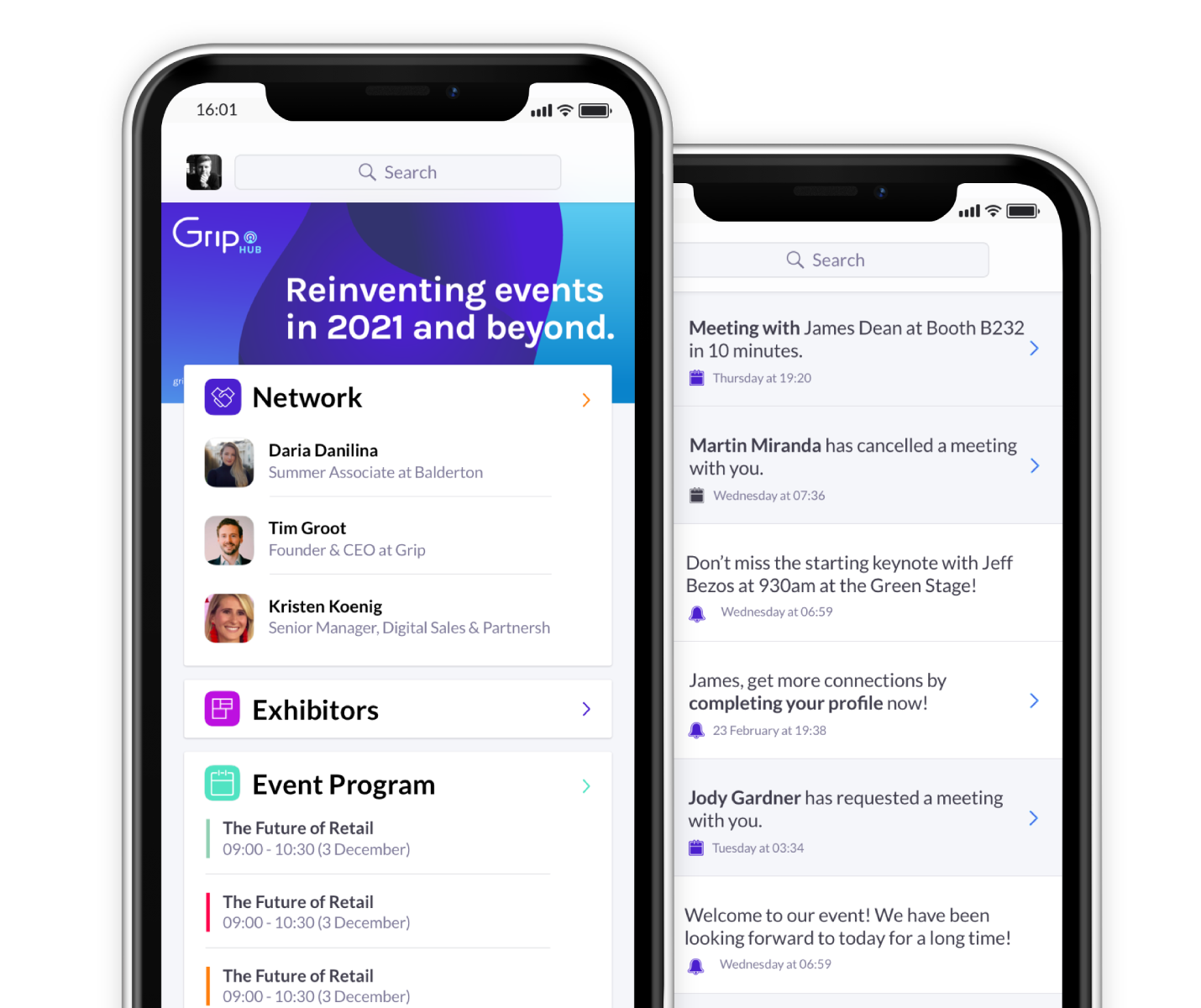 A visual about the Grip platform for event on an iphone app, showing meetings and event agenda