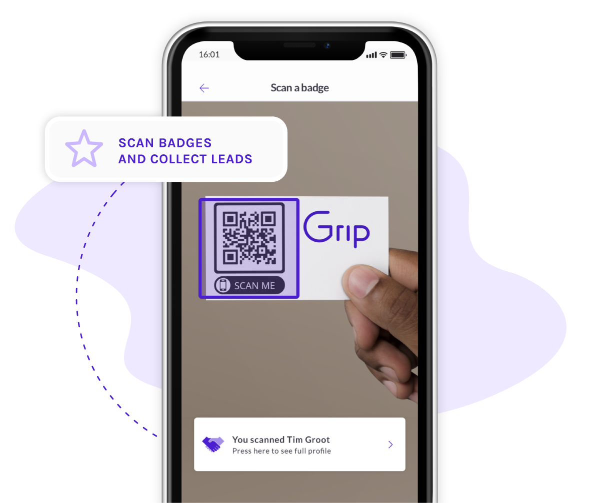 A visual representing a phone with the Grip event app badge scanning possibilities and card scanning