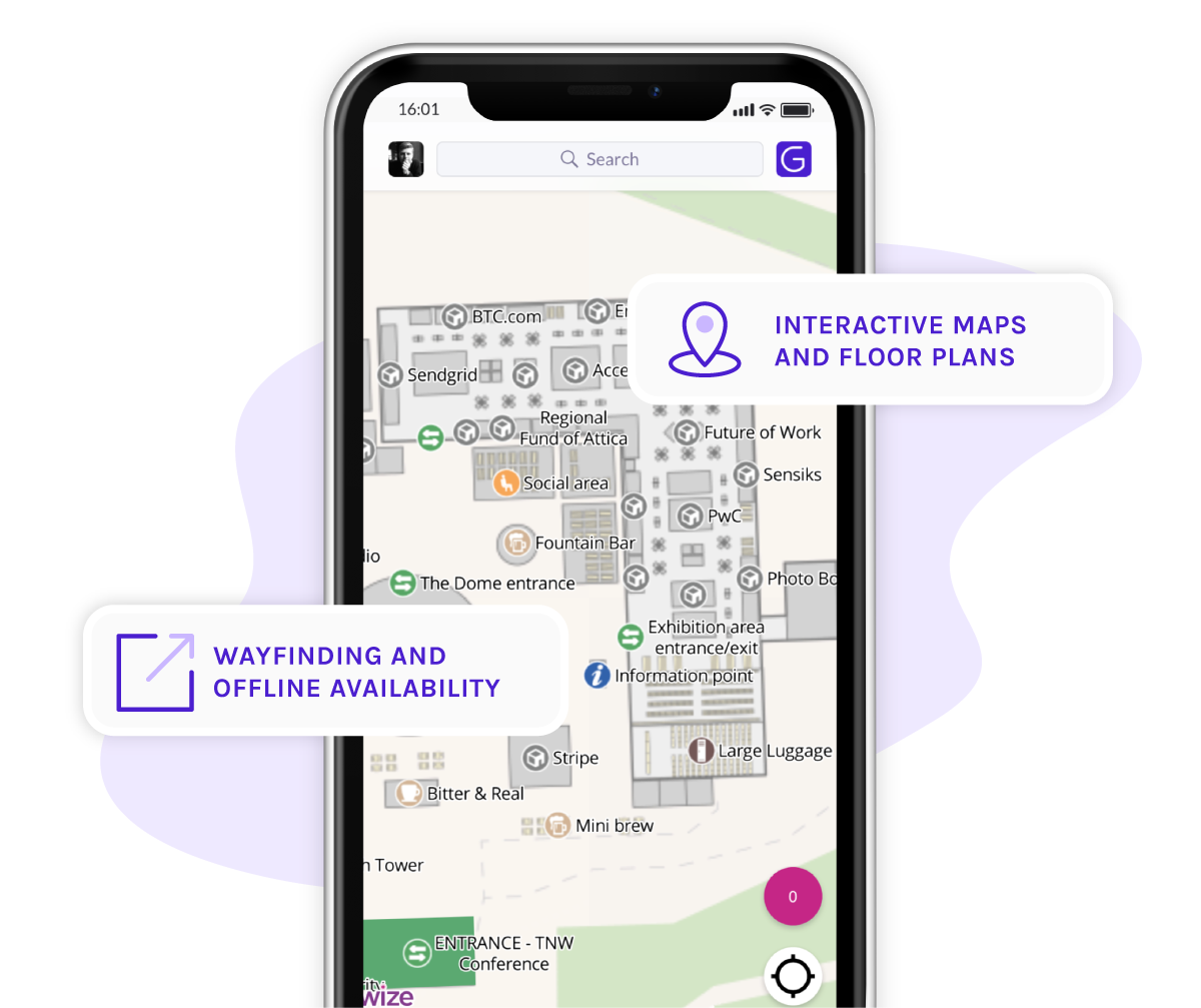 A visual with a phone showing the Grip event app and the floorplan feature