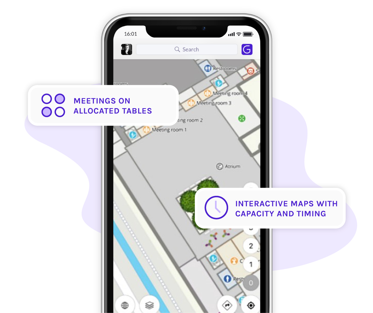 A visual with a phone and the Grip event app showing the designated meeting areas possibility